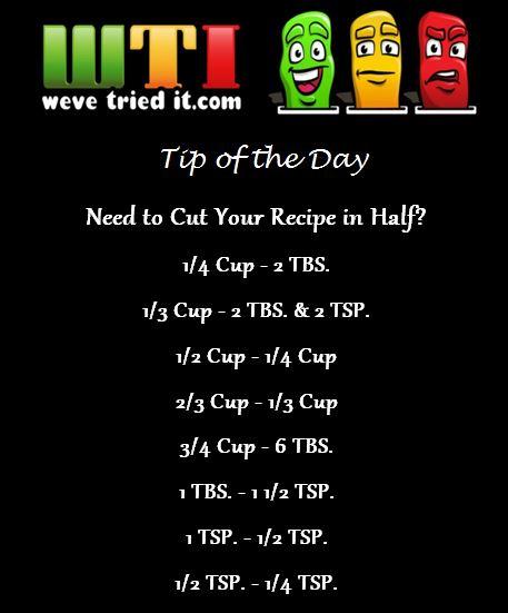 Cut a Recipe in Half Measurements