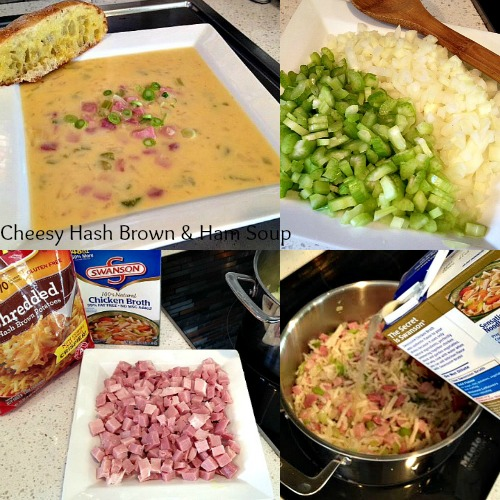 Cheesy Hash brown and ham soup recipe